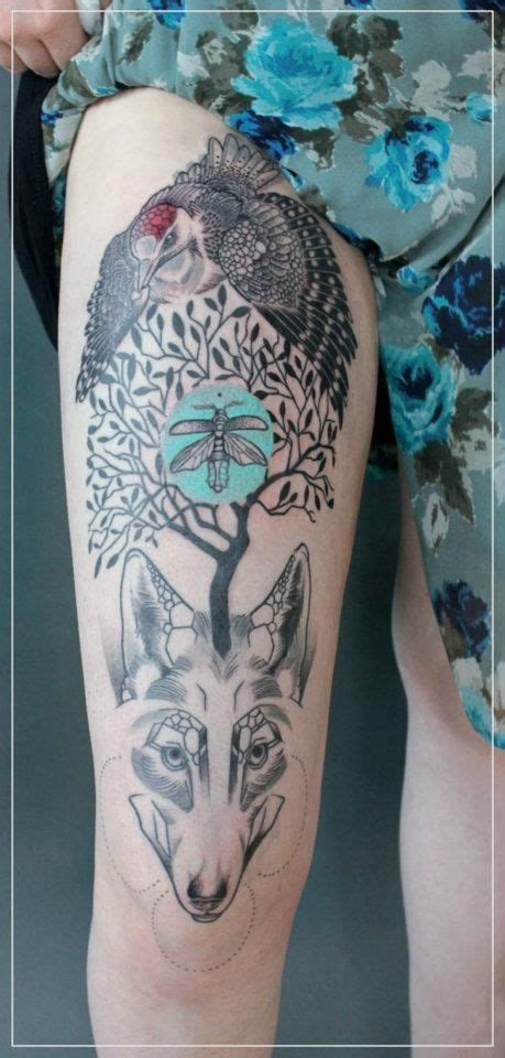 jessica mach tattoo bird tree  wolf composition  legjpg