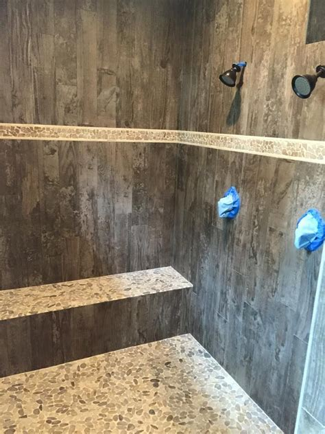 Wood Tiles In Bathroom by This Shower With Tile That Looks Like Wood