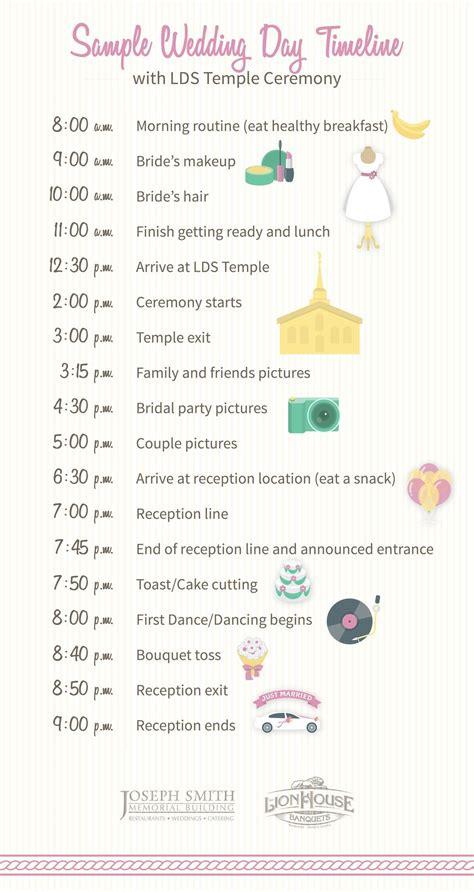 sample wedding day timeline including lds temple ceremony