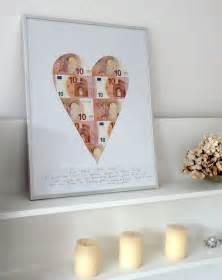 geschenkideen 20 hochzeitstag geldgeschenke originell verpacken scheine im herzpassepartout kreativliste