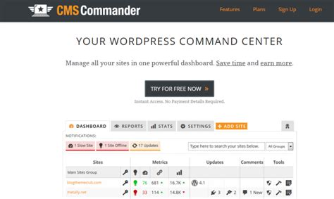 manage dashboard multiple tools single commander cms