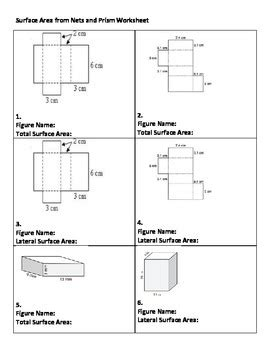 surface area worksheet total and lateral of rectangular