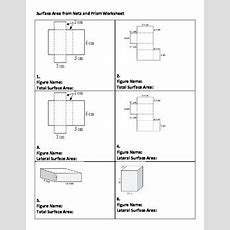 Surface Area Worksheet  Total And Lateral Of Rectangular Prism By Zetta