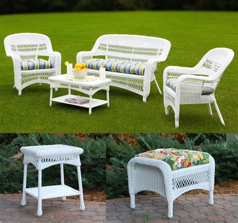 Outdoor Seating Sale by 6pc Outdoor Furniture Synthetic White Wicker Patio Seating