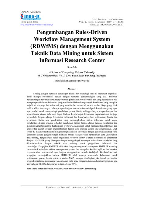 (PDF) Pengembangan Rules-Driven Workflow Management System