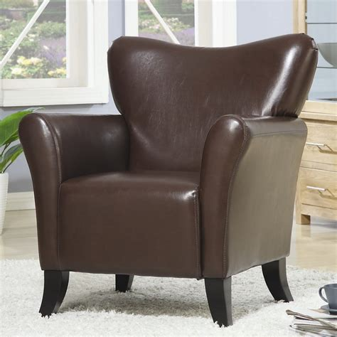 Brown Accent Chair, Vinyl Chair, Living Spaces, Ashley