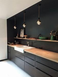 Lampe Cuisine Ikea : 1001 exemples sublimes de la cuisine noire et bois home pinterest amenagement cuisine ~ Teatrodelosmanantiales.com Idées de Décoration