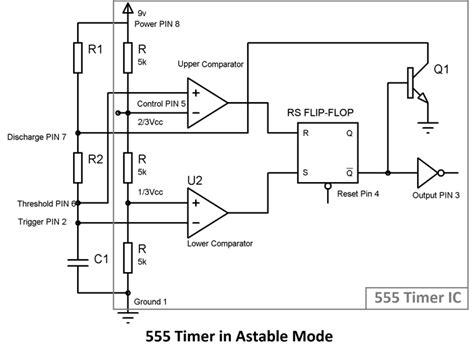Timer Astable Multivibrator Circuit Diagram