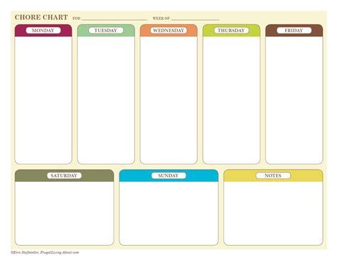 weekly chore chart free printable weekly chore charts
