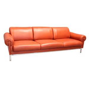 floor and decor santa ca burnt orange leather and steel sofa by maison jansen at