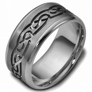 47541ti titanium celtic carved wedding ring With celtic titanium wedding rings