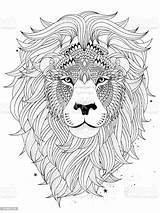 Lion Coloring Head Abstract Animal Illustration Adult Vector Vectors Illlustration Technique Craft sketch template