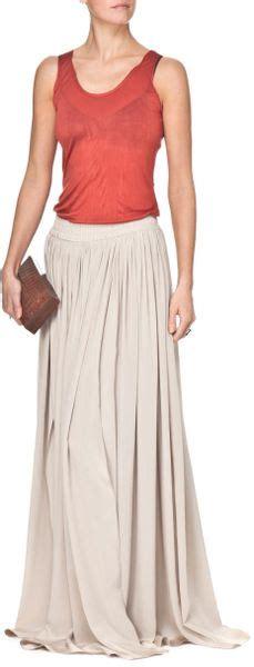 draped maxi skirt yigal azrou 235 l draped maxi skirt in beige lyst
