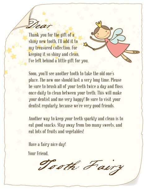 Tooth Fairy Letter  Clear Creek Dentistry