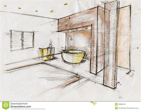 sketch illustration  interior design stock illustration
