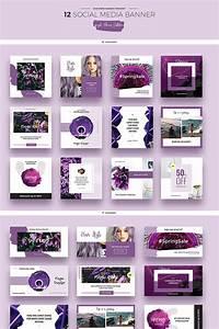 Purple Flowers Social Media Designs Psd Template  66946