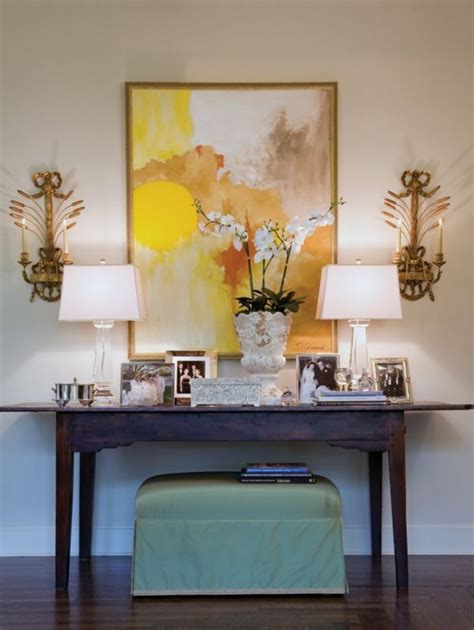 how to decorate a sofa table against a wall how to decorate a console table top seeing the forest