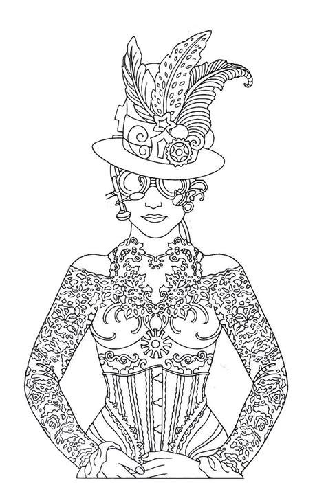 steampunk printable coloring book page easy  medium