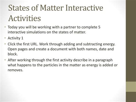 states  matter interactive activities powerpoint