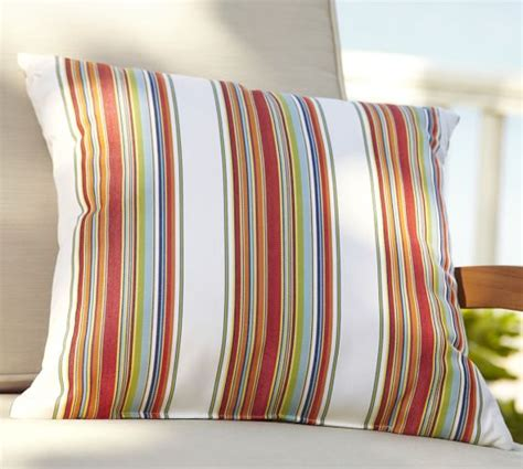pottery barn outdoor pillows sunbrella 174 multi stripe indoor outdoor pillow pottery barn