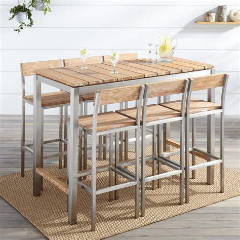 signature furniture warranty macon 7 rectangular teak outdoor bar table set whitewash outdoor