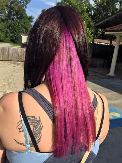 Chocolate Brown Hair With Pink Underneath Hair Color