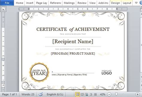 certificate  achievement template  word