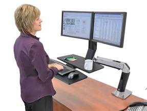 ergotron workfit a with worksurface and dual monitor mounts