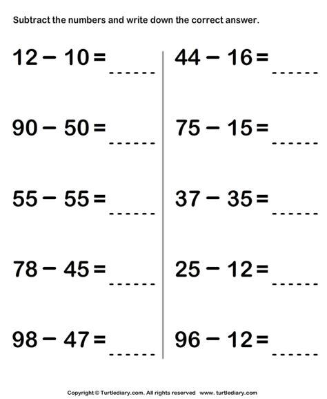 subtracting   digit numbers worksheet turtle diary