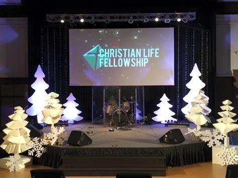billowy trees church stage design ideas