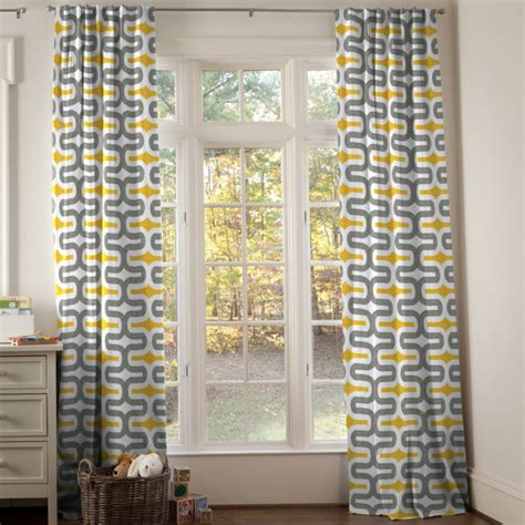 yellow and gray window curtains interior traditional living room present chevron grey and