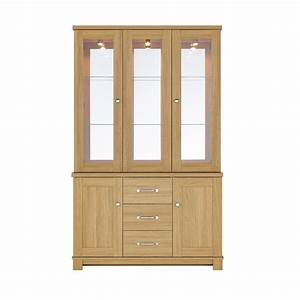 Large Oak Display Cabinet With Glass Doors And Drawers of