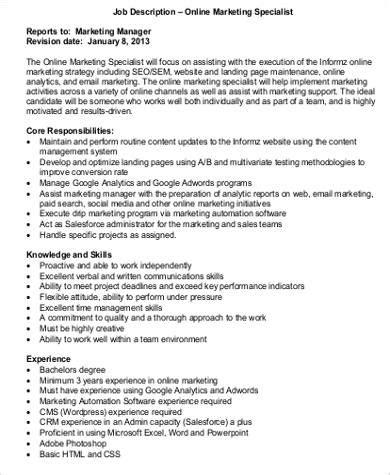marketing specialist job description sample  examples