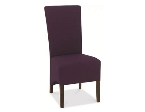 walnut and plum upholstered dining chairs