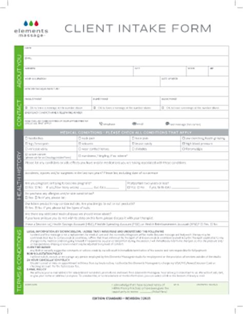 Fillable Online Client Intake Form  Elements Massage Fax