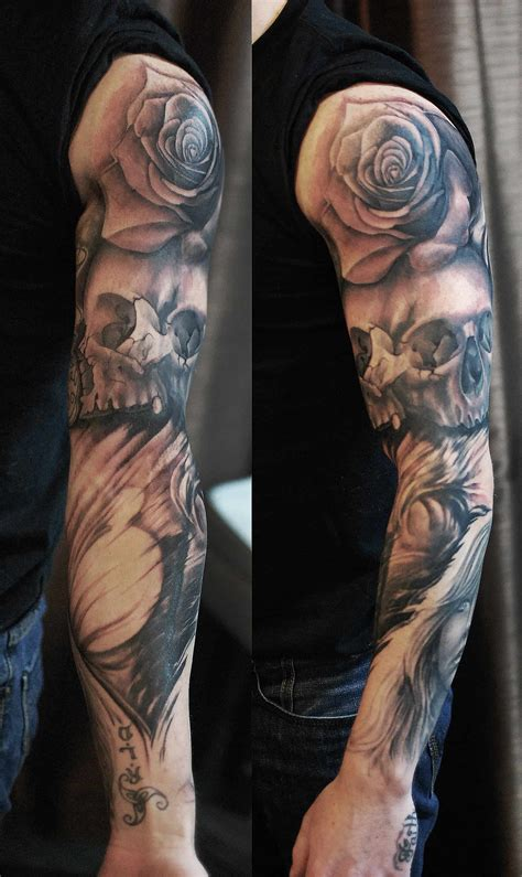 Full Sleeve Black Grey Rose Skull Tattoo Chronic Ink