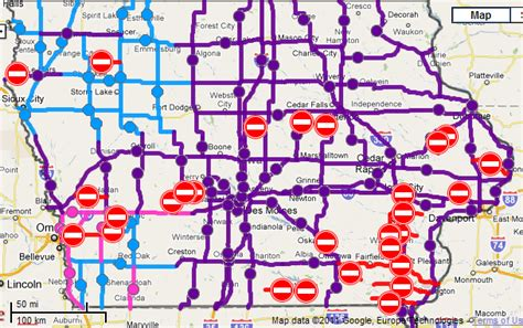 iowa road conditions color map