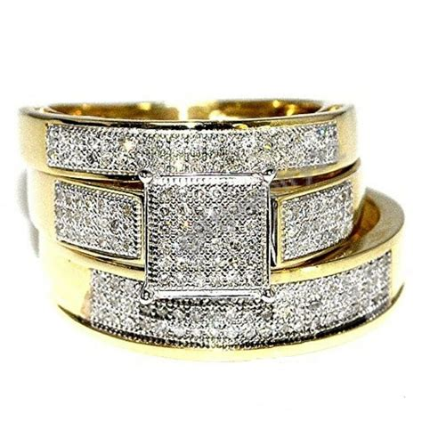 his band wedding trio bridal engagement ring 14k gold ebay