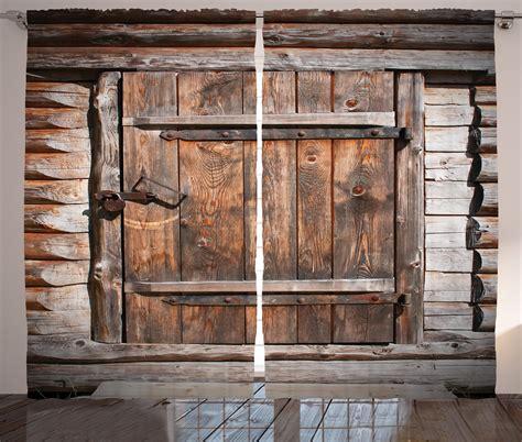 vintage curtains  panels set rustic wooden door