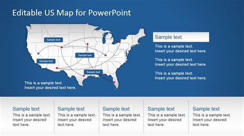 powerpoint map  routes slidemodel