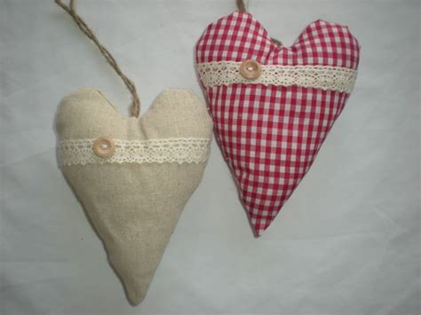 shabby chic fabric hanging hearts shabby chic hanging heart decoration fabric xmas padded gingham door hanger
