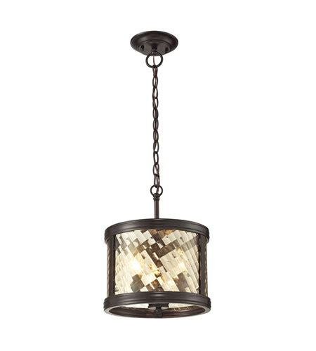 elk lighting chandler 3 light pendant in rubbed bronze