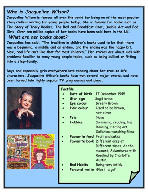 A Jacqueline Wilson fact file | Teaching Resources