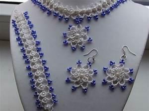 parure blanche et bleu en dentelle frivolite collier With parure collier bracelet
