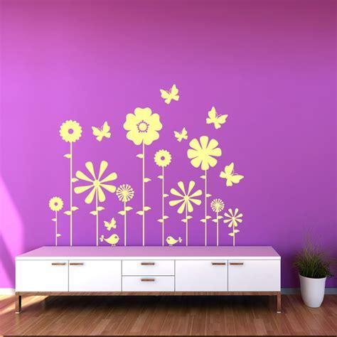 sticker fleurs papillons et oiseaux stickers nature fleurs ambiance sticker