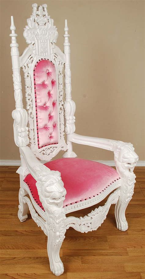 throne chair white pink