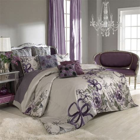 Purple And Grey Bedroom  By Keeping The Walls A Neutral
