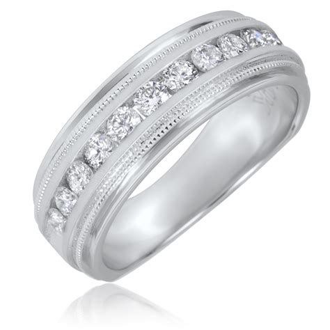 ct tw  cut diamond mens wedding band