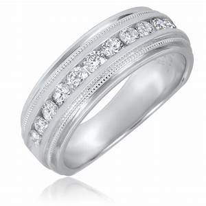 12 CT TW Round Cut Diamond Men39s Wedding Band 14K