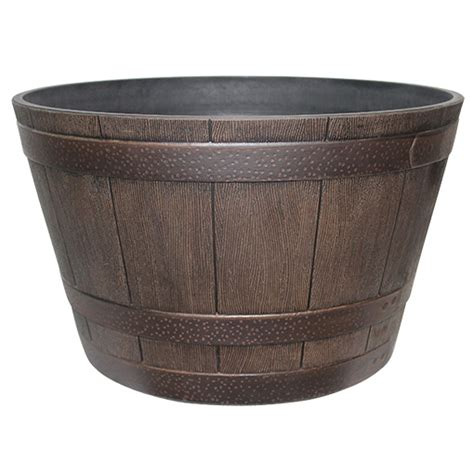 whiskey barrel planters whiskey barrel planter 15 5 quot in kentucky walnut